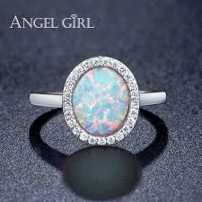 white girl rings images Angel girl hot sale 8mm big white opal ring with cubic zirconia jpg