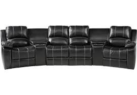 fenway heights black 5 pc leather reclining sectional reclining