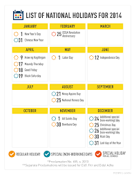 list of nationwide holidays for 2014 davao promos