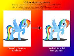 Mlp Rainbow Dash Meme - colour guessing meme rainbow dash by deannaphantom13 on deviantart