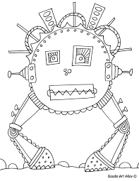 robot coloring pages doodle art alley