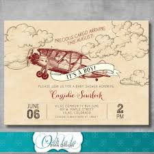 vintage airplane baby shower invitation baby boy shower