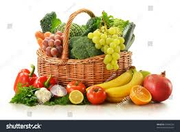 composition vegetables fruits wicker basket isolated stock photo