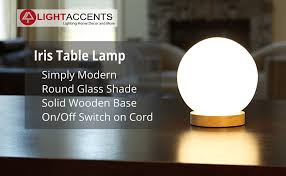 Small Accent Table Lamps Light Accents Iris Table Lamp Natural Wooden Base With Round Glass