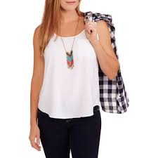 faded glory women u0027s woven tee with lace and embroidery walmart com
