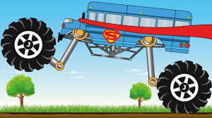 bus monster truck videos superman bus monster truck kids video youtube