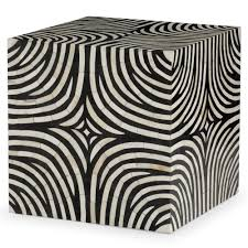 White Accent Table by Rumi Global Bazaar Zebra Print Bone Inlay End Table Kathy Kuo Home