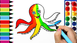 draw color paint rainbow octopus coloring pages and learn colors