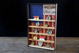 Military Flag Case Hanging Wood Military Coin Holder Engraved Military Coin Holder