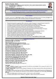 Manufacturing Experience Resume Resume Kishor Kumar Jalori New
