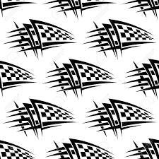seamless pattern with tribal racing checkered flag tattoo for