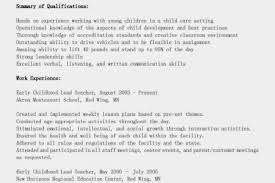 Early Childhood Resume Examples by Resume For Teachers With Experience Category Specialist Sample