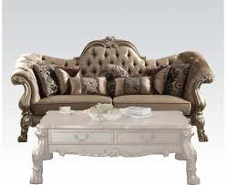 sofa dresden tufted sofa in chagne velvet gold patina carved wood