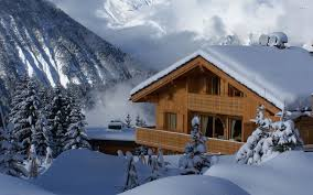 chalet house wooden chalet in on a winter day walldevil