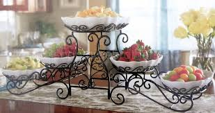 3 tier buffet server 5 stoneware serving dishes wrought iron stand
