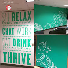 vivache designs these branded wall murals were painted at the offices of thrive market