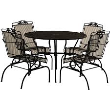 Wrought Iron Patio Table And Chairs Furniture Arlington House 5 Piece Action Patio Dining Set With