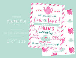 tea for two birthday invitation digital file tea party birthday