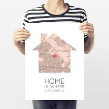 Nigeria Is Located On The World Map Around The by Home Is Where The Heart Is U0027 Map Print By Paperpaper