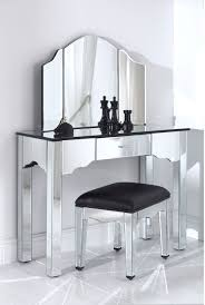glass vanity table set with mirror and marble countertop with