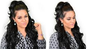 Black Hair Styles Extensions by Khloe Kardashian Half Up High Ponytail Hairstyle Using Clip In