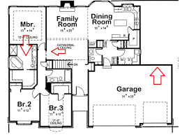 house plans bedroom bath ranch single level bed home floor with 2