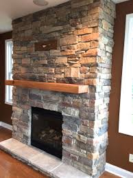 stone on fireplace home design