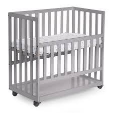 new bedside crib beech stone grey 50x90 wheels childhome