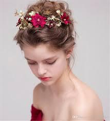rhinestone hair vintage wedding bridal tiara burgundy flower crown headband