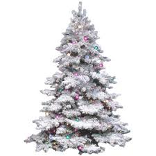 white pre lit christmas tree with colored lights the holiday aisle flocked alaskan 4 5 white artificial christmas