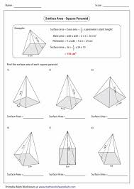 surface area of pyramid worksheet free worksheets library