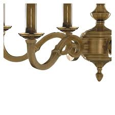 malaga solid brass 6 light fitting with metal candle tubes