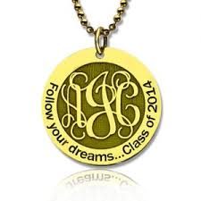 Circle Monogram Necklace Personalized Monogram Necklace