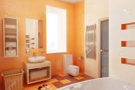 Bathroom Rugs And Accessories Orange Bathroom Modern Interior Stock Photo Picture And Bath Rugs