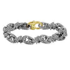 silver bracelet hand images Hand engraved sterling silver and 18k link bracelet minasyani jpg
