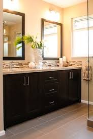 Two Tone Paint With Tile Inbetween For The Home Pinterest - Bathroom vanity backsplash ideas