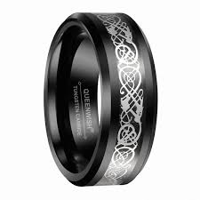 tungsten black rings images Queenwish men 39 s tungsten black celtic silver dragon band ring jpg