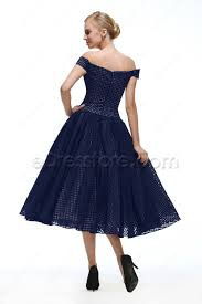off the shoulder navy blue vintage prom dresses tea length
