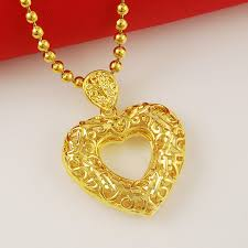 gold bead pendant necklace images 24k gold beads chain hollow heart pendant necklace for women jpg