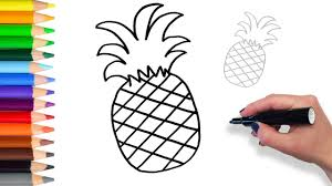 learn how to draw pineapple teach drawing for kids and toddlers