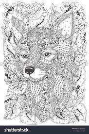 zen patterns coloring pages fox hand drawn with ethnic floral doodle pattern coloring page