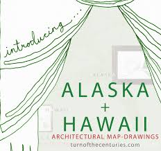 50 State Map Turn Of The Centuries Alaska Hawaii Usa Map Drawings