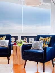 Blue Accent Chairs For Living Room Retro Style Of Chenille Navy Blue Accent Chair With Curved