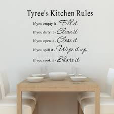 compare prices on kitchen wall decal online shopping buy low personalized your name kitchen rules quotes wall decal art lettering vinyl sticker china mainland