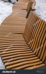 S Shaped Bench Modern Curved S Shaped Brown Wooden Stock Photo 360027422