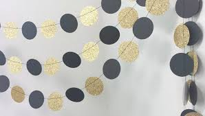 Black Gold Wedding Decorations Black And Gold Circle Garland Gold Wedding Decor Gold Glitter