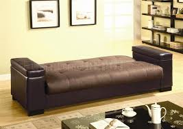 Convertible Sofa Beds Tone Brown And Tan Convertible Sofa Bed W Storage Arms