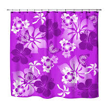 Tropical Beach Shower Curtains by Surfer Bedding Purple Hibiscus And Butterflies Hawaiian Shower