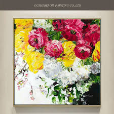 new painted knife flower painting on canvas modern