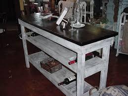 single plank top wine bar buffet table w 2 shelves u0026 10 bottle